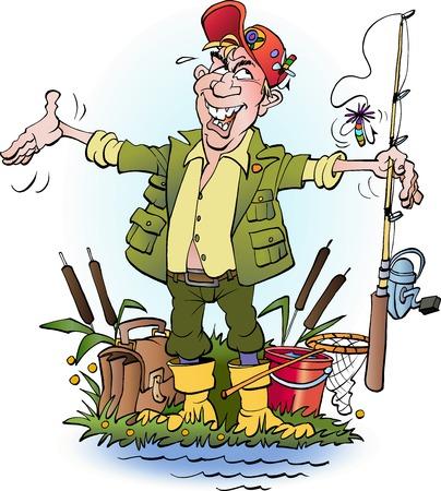 mosca caricatura: ilustración de un pescador que se encuentran la historieta del vector