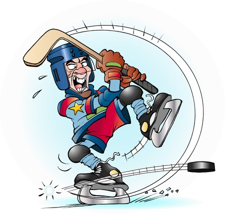 Vector cartoon illustration of a slap shot in hockey