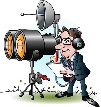 decode: Vector cartoon illustration of a businessman in marketing looking through binoculars