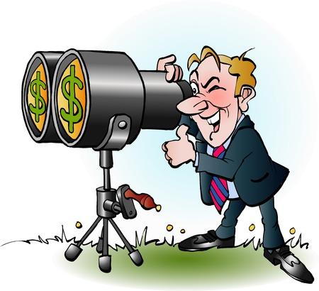 decode: Vector cartoon illustration of a businessman looking through binoculars for money