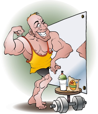 Bodybuilder in love vector cartoon illustration Ilustração