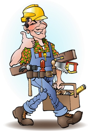 Carpenter vector cartoon illustration drawing