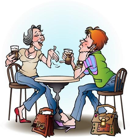 Girls in Cafe cartoon illustration