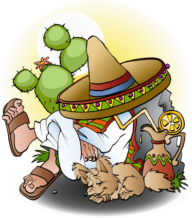 Mexican siesta cartoon illustration