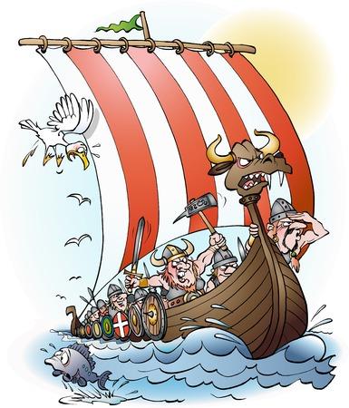 Vikings raid cartoon illustration
