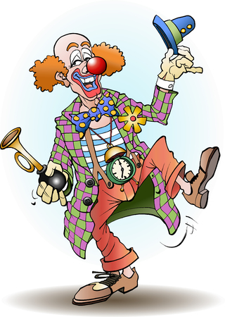 Circus clown greets cartoon illustration vector drawing
