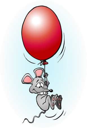 Mouse flying with a balloon cartoon illustration vector drawing Stock Vector - 58377138