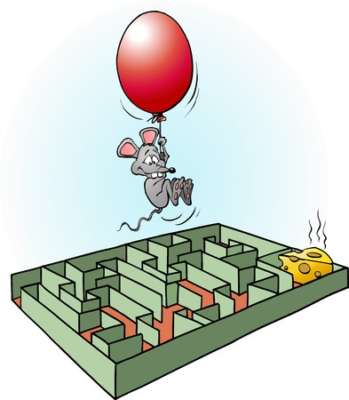 Creative mouse finds easy way to cheese cartoon illustration vector drawing