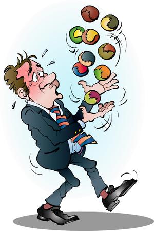 空気漫画イラスト ベクター描画に多くのボールを持つマネージャー