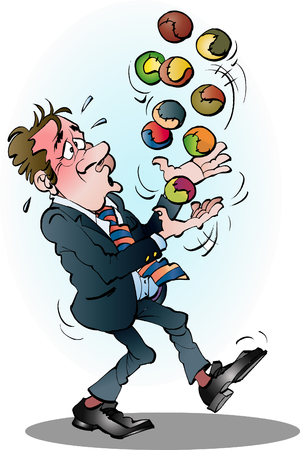 Manager met veel ballen in de lucht cartoon illustratie vector tekening