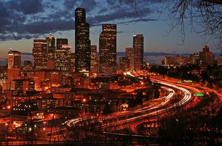 Postcard-like Seattle night view photo