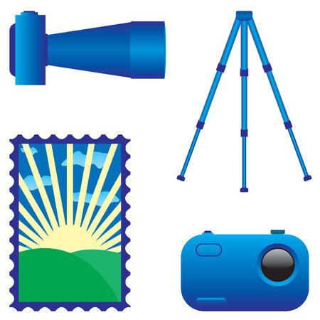 digital photo camera and tripod vector Vector