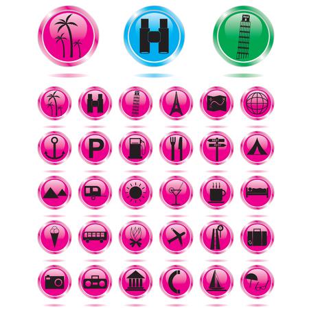 tourismus icon: Reisen und Tourismus-Symbol-set Illustration