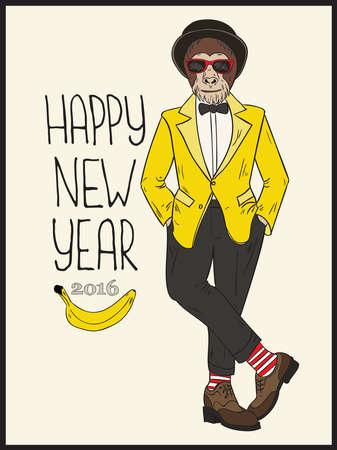 monkey suit: Vector hand drawn illustration. Colorful card with Happy New Year 2016 lettering.