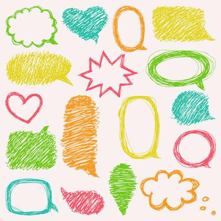 text bubble: Doodle design with short messages.