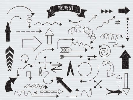 sketched arrows: Hand drawn arrows sketched style. Decorative elements and embellishments
