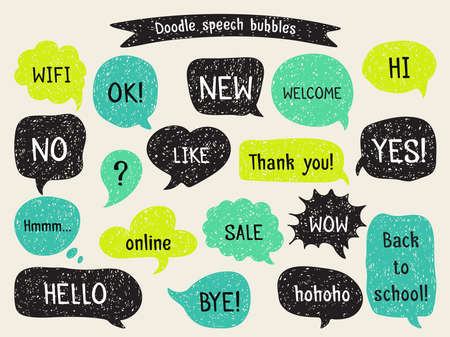 Conjunto de expresión y de pensamiento burbujas dibujadas a mano. diseño del doodle con mensajes cortos. Ilustración de vector