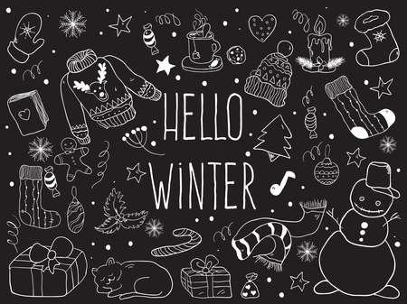 Christmas doodle collection, hand drawn new year elements. Vector Illustration