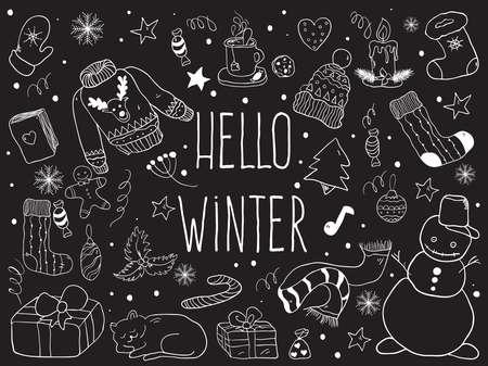 Weihnachten doodle Sammlung, von Hand gezeichnet neue Jahr-Elemente. Vektorgrafik