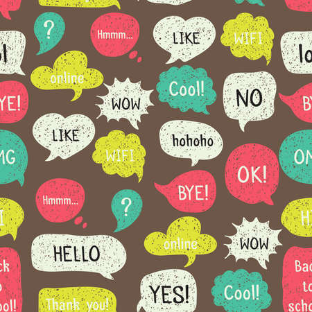 Seamless pattern with hand drawn speech and thought bubbles. Doodle design with short messages.