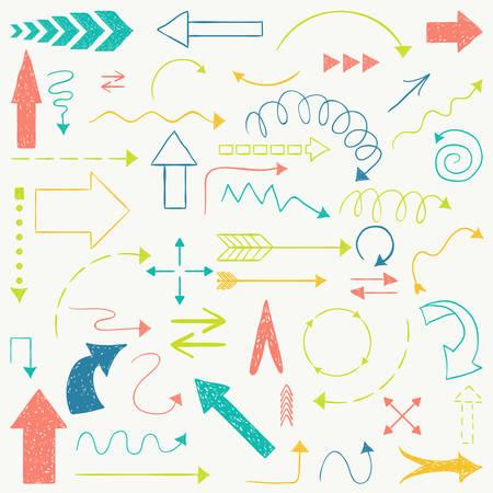 flecha: Mano flechas dibujadas estilo bosquejado.