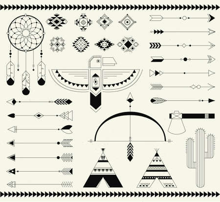 Navajo american isolated elements. Vector collection tribal print elements. Aztec badges, indian, aztec illustration.