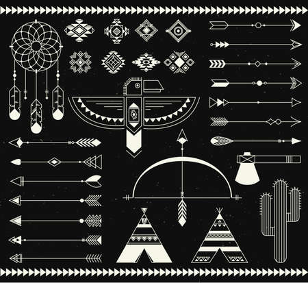 Navajo american isolated elements. Vector collection tribal print elements. Aztec and badges, indian, aztec illustration