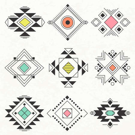 white lines: Ethnic collection symbol, Navajo elements for design. Vector set with tribal, Indian, elements. Illustration