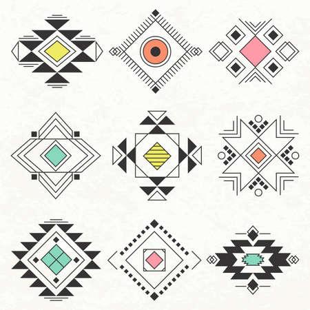 dibujos lineales: símbolo de recogida étnica, elementos para el diseño de Navajo. Vector conjunto con las tribus, India, elementos.