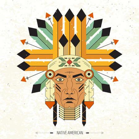 north american: North American chief. Vector illustration. Geometric flat style style. Illustration