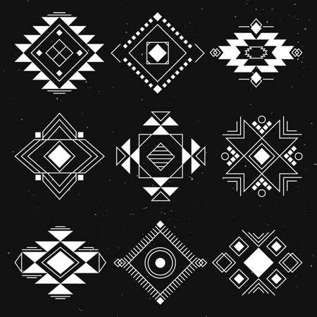 black american: Ethnic collection symbol, Navajo elements for design. Vector set with tribal, Indian, elements. Illustration