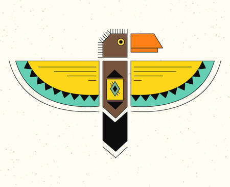 thunderbird: Native American Indian Symbol. Geometric flat style. Illustration