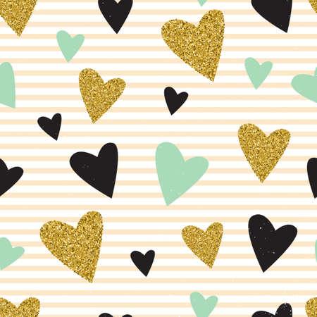 Gold glitzerndes Herz Konfetti nahtlose Muster auf gestreiften Hintergrund.