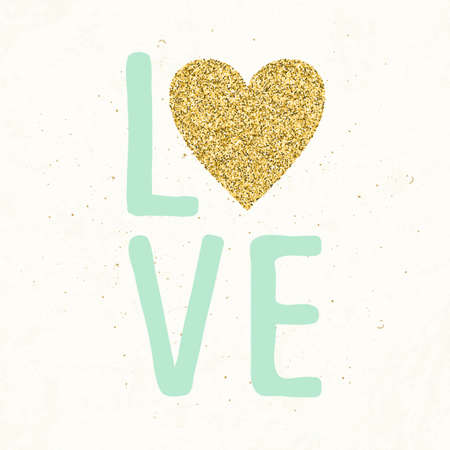 make a call: Hand drawn typography card. Gold glittering heart.  Poster with hand romantic lettering.