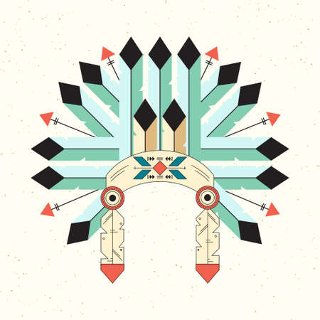 chiefs: Native American Indian Symbol. Geometric flat style. Illustration