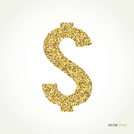 currency glitter: Cash and money, wealth, payment symbol. Gold sparkles and glitter vector illustration Illustration