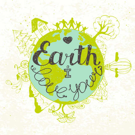 love of planet: Card templates for those who love the planet. Vector illustration.