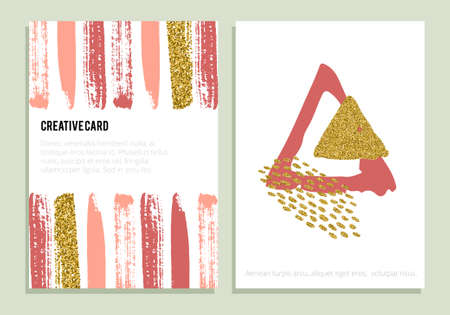 Collection of brochures with hand drawn design elements, backgrounds, patterns and textures. Modern abstract