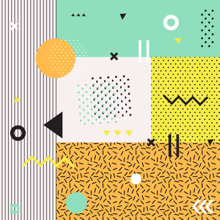 patterns and colors: Retro style texture, pattern and geometric elements. Modern abstract design poster, cover, card design.