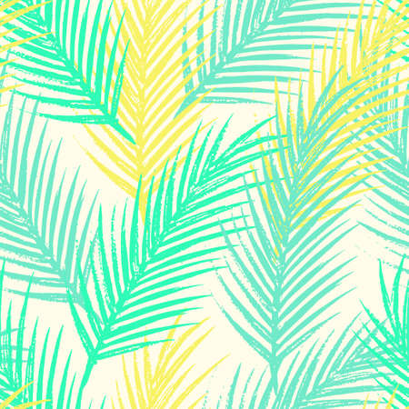 fronds: Seamless tropical pattern with jungle leaves and palm fronds.