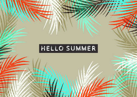 fronds: Hello summer tropical pattern with jungle leaves and palm fronds.