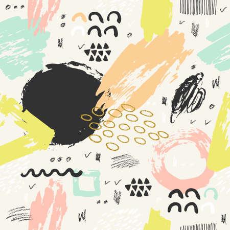 Hand drawn carte abstraite et éléments géométriques. affiche moderne abstraite de conception, couverture, conception de cartes. Banque d'images - 59656859