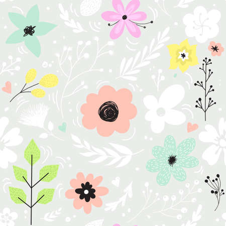Vector seamless pattern with pastel flowers.