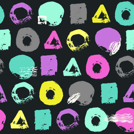 Trendy vector seamless pattern with brush strokes.