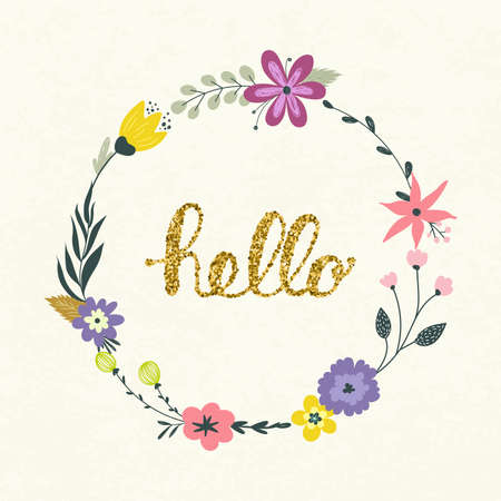 Vector wreath with pastel flowers and hello lettering. Vector illustration.