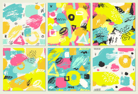 Set of abstract seamless pattern with brush strokes.