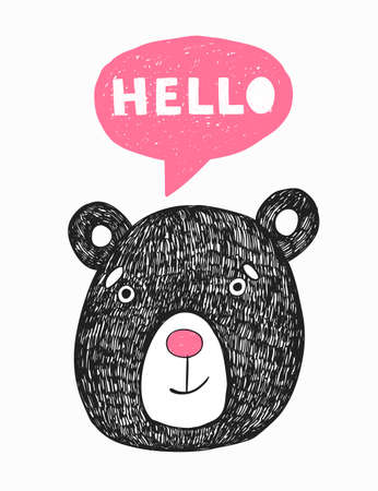 Vector poster with hand drawn funny bear. Stock Illustratie