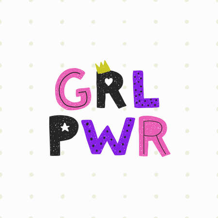 Girl power poster with crown on light dotted background. Vector illustration.