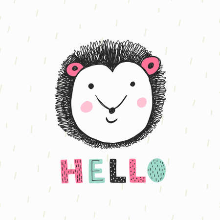 hello text with cute hedgehog on light background. Vector illustration.