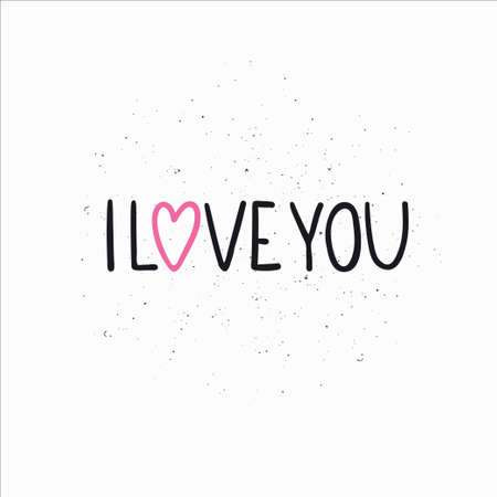i love you typography with heart on light background.  Vector illustration.  イラスト・ベクター素材